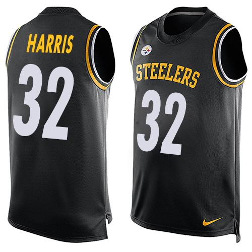 Men's Pittsburgh Steelers #32 Franco Harris Black Hot Pressing Player Name & Number Nike NFL Tank Top Jersey
