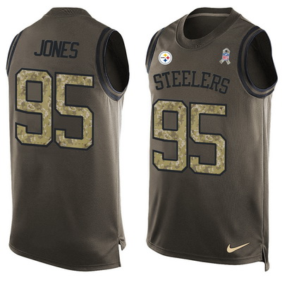Men's Pittsburgh Steelers #36 Jerome Bettis Green Salute to Service Hot Pressing Player Name & Number Nike NFL Tank Top Jersey