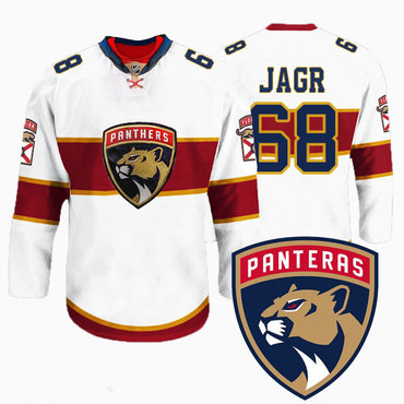 e9111838b Men's Florida Panthers #68 Jaromir Jagr New Logo Reebok White Premier  Player Jersey