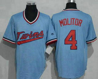 d34369644d2 Men's Minnesota Twins #4 Paul Molitor Light Blue Pullover Throwback  Majestic Cooperstown Collection Jersey