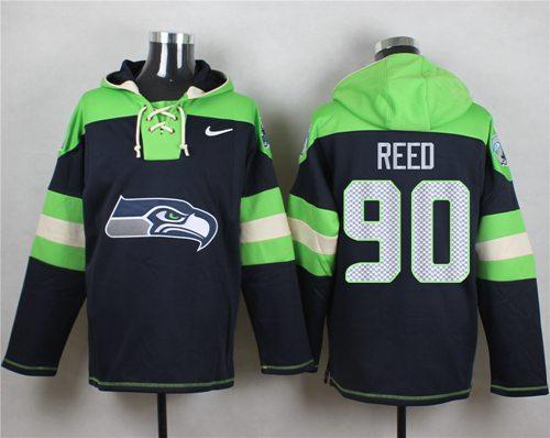 Nike Seahawks #90 Jarran Reed Navy Blue Player Pullover NFL Hoodie