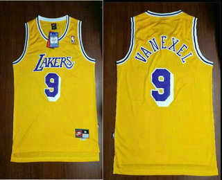 fa23a615f82 Men's Los Angeles Lakers #9 Nick Van Exel Yellow Hardwood Classics Soul  Swingman Throwback Jersey