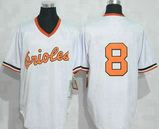 b6170b731 Men s Baltimore Orioles  8 Cal Ripken White Pullover Throwback Jersey By  Mitchell   Ness
