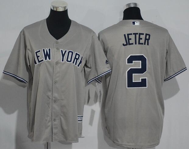 quality design 6c09c e8b38 Youth New York Yankees #2 Derek Jeter Name Gray Stitched MLB ...