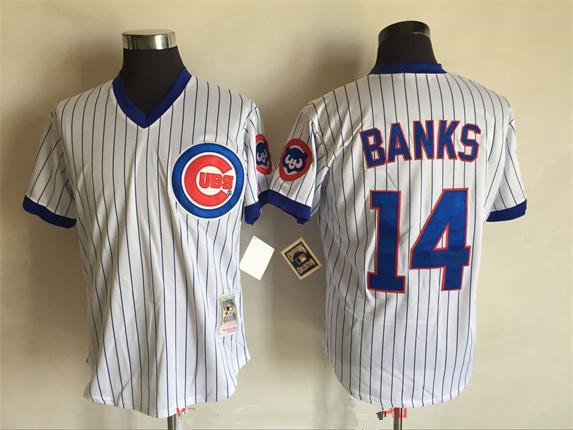 various colors 9b165 7861e wholesale chicago cubs 14 ernie banks white throwback jersey ...