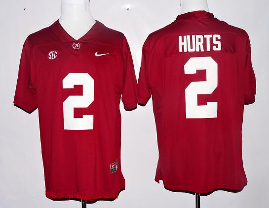 55be3d12a Men's Alabama Crimson Tide #2 Jalen Hurts Red Limited Stitched College  Football Nike NCAA Jersey