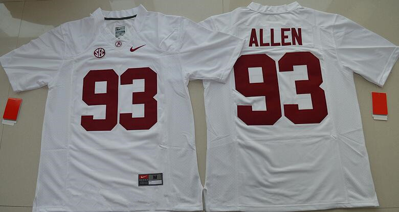 Men's Alabama Crimson Tide #93 Jonathan Allen White Limited Stitched College Football Nike NCAA Jersey