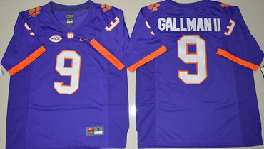 Men s Clemson Tigers  9 Wayne Gallman II Purple Stitched NCAA Nike 2016  College Football Jersey 3172c58bf