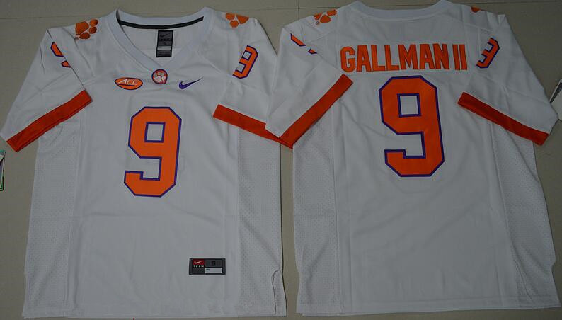 Men s Clemson Tigers  9 Wayne Gallman II White Stitched NCAA Nike 2016  College Football Jersey 79d1e26bf