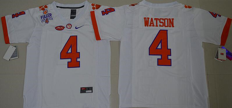 Men s Clemson Tigers  4 Deshaun Watson White Stitched NCAA Nike 2016  College Football Jersey 81b1bc3af