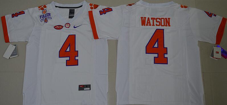 95bce5b60 Men's Clemson Tigers #4 Deshaun Watson White Stitched NCAA Nike 2016 College  Football Jersey