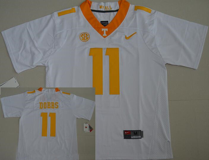 Men's Tennessee Volunteers #11 Joshua Dobbs White Stitched NCAA Nike College Football Jersey