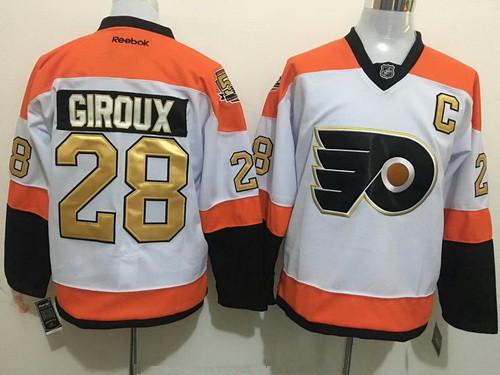 f2c8a6157 Men's Philadelphia Flyers #28 Claude Giroux White 50th Anniversary Gold  Stitched NHL Reebok Hockey Jersey