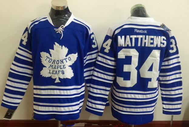 bf54722f349 Men's Toronto Maple Leafs #34 Auston Matthews Blue 2014 Winter Classic  Stitched NHL Reebok Hockey Jersey