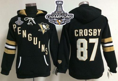 Pittsburgh Penguins #87 Sidney Crosby Black 2016 Stanley Cup Champions Women's Old Time Heidi NHL Hoodie