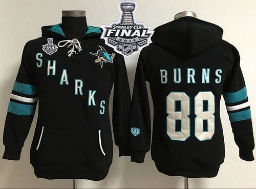 San Jose Sharks #88 Brent Burns Black 2016 Stanley Cup Final Patch Women's Old Time Heidi Hoodie NHL Hoodie
