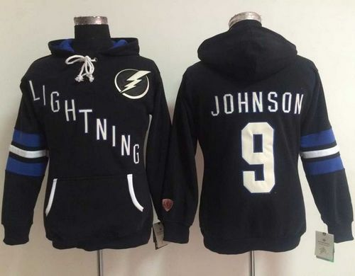 Tampa Bay Lightning #9 Tyler Johnson Black Women's Old Time Heidi NHL Hoodie