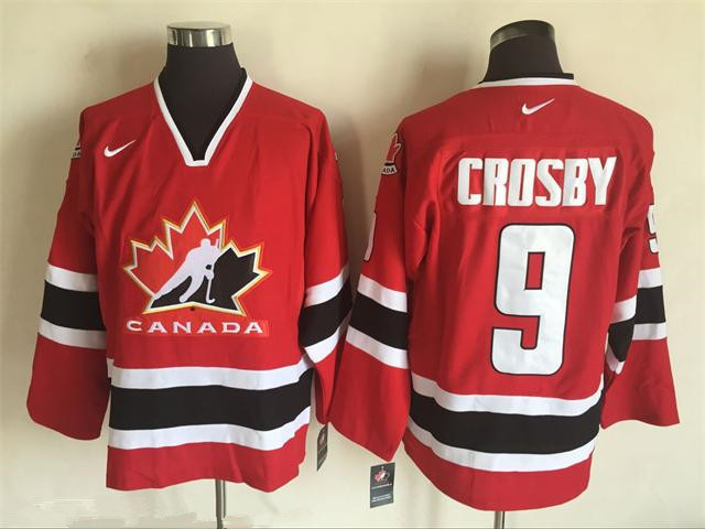 Men's 2002 Team Canada #9 Sidney Crosby Red Nike Olympic Throwback Stitched Hockey Jersey