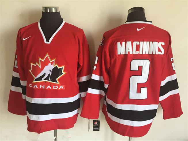 Men's 2002 Team Canada #2 Al MacInnis Red Nike Olympic Throwback Stitched Hockey Jersey
