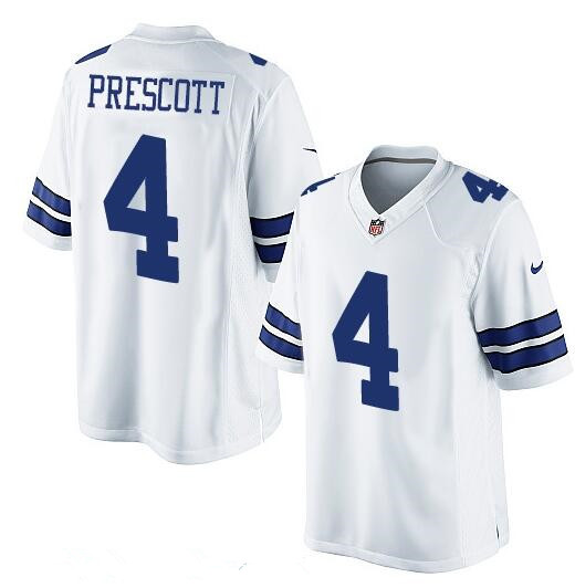 258c899a0d3 Youth Dallas Cowboys #4 Dak Prescott White Road Stitched NFL Nike Game  Jersey