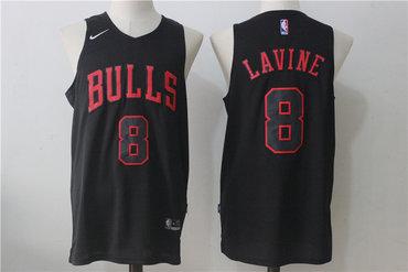 ea4c790b Men's Chicago Bulls #8 Zach LaVine All Black 2017-2018 Nike Swingman  Stitched NBA Jersey