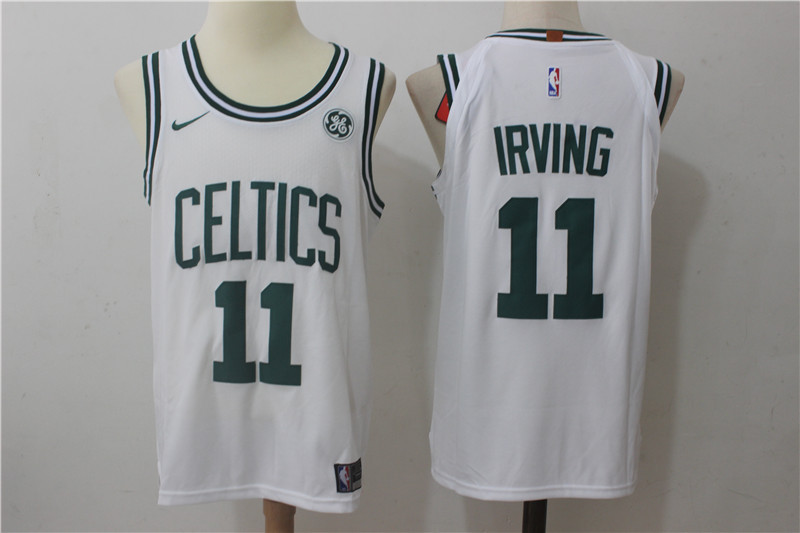 362df835 Men's Boston Celtics #11 Kyrie Irving White Stitched NBA Nike Revolution 30 Swingman  Jersey