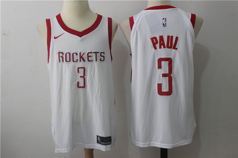 Men s Houston Rockets  3 Chris Paul New White 2017-2018 Nike Swingman  Stitched NBA 02c5835e7