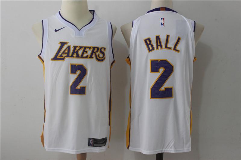 ee9b630aa24 Men's Los Angeles Lakers #2 Lonzo Ball New White 2017-2018 Nike Swingman  Stitched