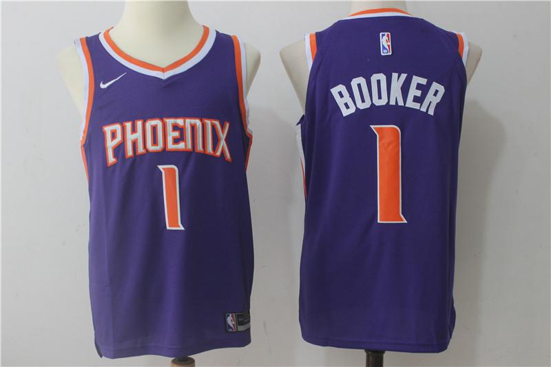 f77dffc65b2 Men s Phoenix Suns  1 Devin Booker Purple 2017-2018 Nike Swingman Stitched NBA  Jersey