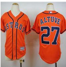 Youth Houston Astros #27 Jose Altuve Orange Cool Base Stitched Baseball Jersey