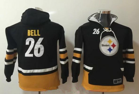 9a729d8c3 Youth Pittsburgh Steelers #26 Le'Veon Bell NEW Black Pocket Stitched NFL  Pullover Hoodie
