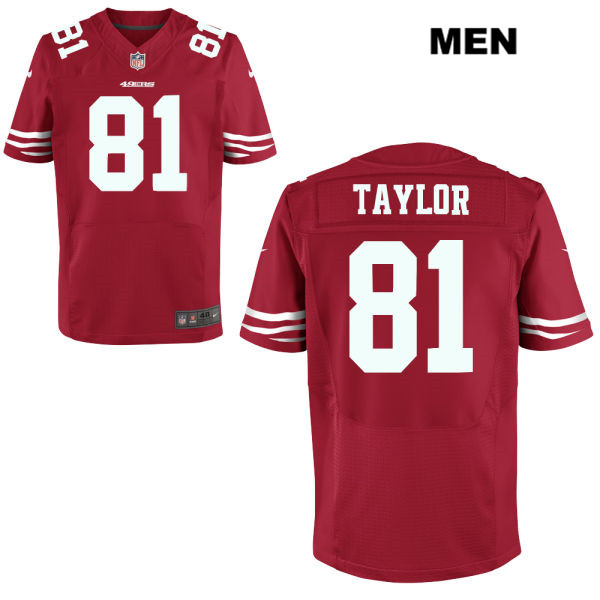 Mens Nike San Francisco 49ers #81 Trent Taylor Stitched  Home Red Elite Football Jersey