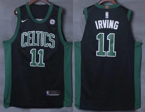8f04b5c6d90 Men s Boston Celtics  11 Kyrie Irving Black 2017-2018 Nike Swingman General  Electric Stitched