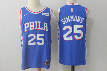 Men s Philadelphia 76ers  25 Ben Simmons New Royal Blue 2017-2018 Nike  Swingman Stitched ddda5c508