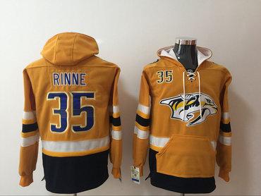 Men's Nashville Predators #35 Pekka Rinne NEW Yellow Pocket Stitched NHL Old Time Hockey Hoodie