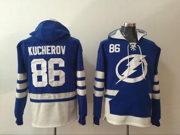 Men's Tampa Bay Lightning #86 Nikita Kucherov Royal Blue Pocket Stitched NHL Old Time Hockey Pullover Hoodie