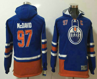 Youth Edmonton Oilers #97 Connor McDavid NEW Royal Blue Pocket Stitched NHL Old Tim Hockey Hoodie