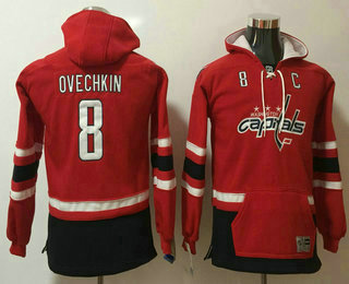 Youth Washington Capitals #8 Alex Ovechkin NEW Red Pocket Stitched NHL Old Tim Hockey Hoodie