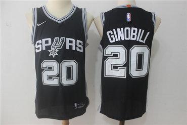 pretty nice 6049f a80c5 Men's San Antonio Spurs #20 Manu Ginobili Black Nike Jersey ...