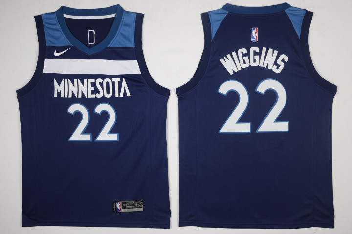 ee63c13940c Men s Minnesota Timberwolves  22 Andrew Wiggins New Navy Blue 2017-2018  Nike Swingman Stitched NBA Jersey