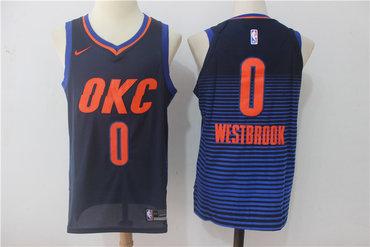 Men's Oklahoma City Thunder #0 Russell Westbrook Navy Blue 2017-2018 Nike Swingman Stitched NBA Jersey