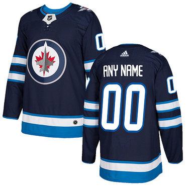 Custom Men's Adidas Winnipeg Jets  2017-2018 Hockey Blue Stitched NHL Jersey