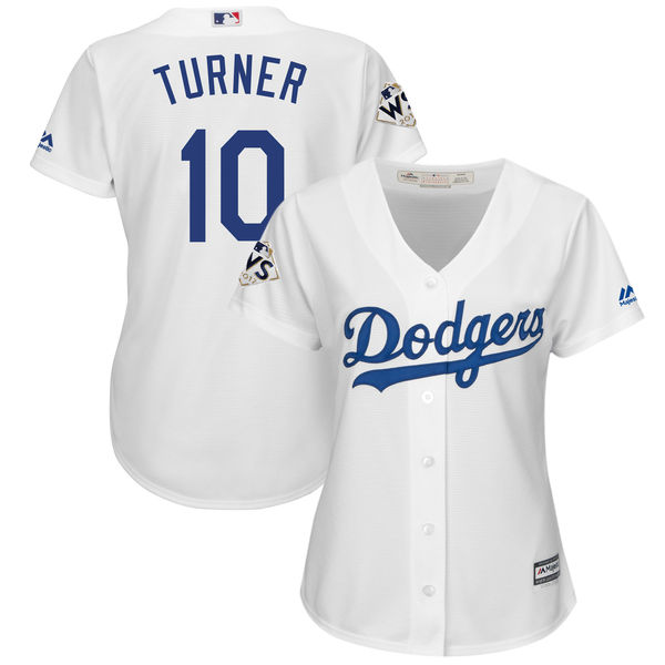 Women's Los Angeles Dodgers #10 Justin Turner White 2017 World Series Bound Cool Base Player Jersey