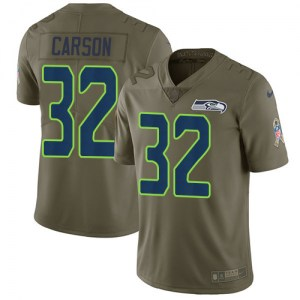 Men's Nike Seattle Seahawks #32 Chris Carson Limited Olive 2017 Salute to Service Jersey