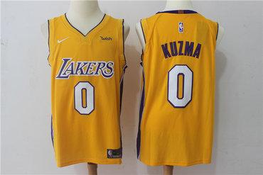 huge discount bb06d b561e Men's Los Angeles Lakers #0 Kyle Kuzma New Yellow 2017-2018 ...