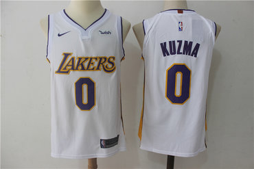 new styles 33e3a 11162 Men's Los Angeles Lakers #0 Kyle Kuzma New White 2017-2018 ...