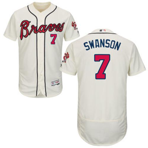 Men's Atlanta Braves #7 Dansby Swanson Cream Flexbase Authentic Collection Stitched MLB Jersey