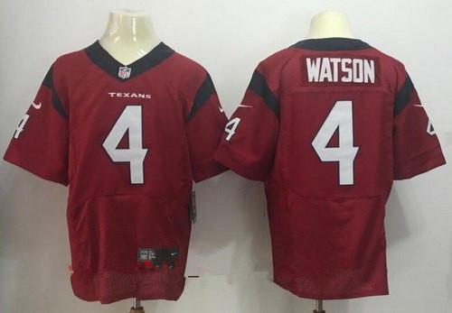 Men's 2017 NFL Draft Houston Texans #4 Deshaun Watson Red Team Color Stitched NFL Nike Elite Jersey