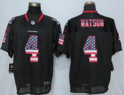 Men's 2017 NFL Draft Houston Texans #4 Deshaun Watson Black USA Flag Fashion Stitched NFL Nike Elite Jersey