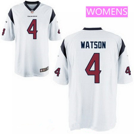 Women's 2017 NFL Draft Houston Texans #4 Deshaun Watson White Road Stitched NFL Nike Game Jersey